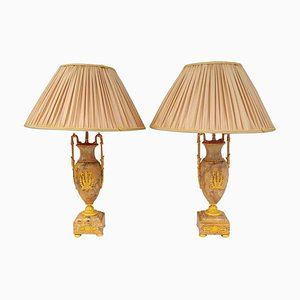 Antique Empire Style Yellow Sienna Marble Lamps, Set of 2