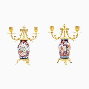 Kleiner Kerzenhalter aus Porzellan & vergoldetem Bronze mit Imari-Dekoration, 19. Jh., 2er Set