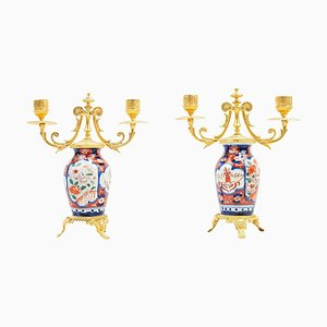 Small 19th-Century Porcelain & Gilt Bronze Candelabra with Imari Decoration, Set of 2