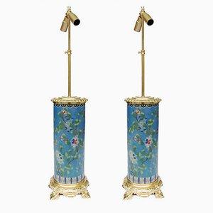Cloisonné Tischlampen aus emaillierter & vergoldeter Bronze, 1900er, 2er Set
