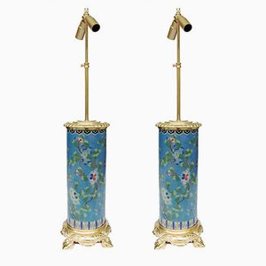 Roller-Shaped Cloisonné Enamel & Gilt Bronze Table Lamps, 1900s, Set of 2