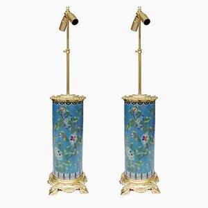 Roller-Shaped Cloisonné Enamel & Gilt Bronze Table Lamps, 1900s, Set of 2