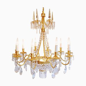 Directoire Style Chandelier with Crystal Pendants, 1970s