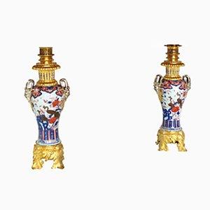 Große antike Lampen aus Porzellan mit Imari-Dekoration, 2er Set