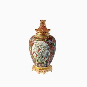 Grande Lampe Verte Familiale en Porcelaine, 1880s