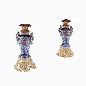 Antike Valentine Porzellanlampen, 2er Set
