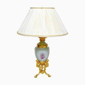 Antique Louis XVI Style Amphora-Shaped Celadon Porcelain Lamp