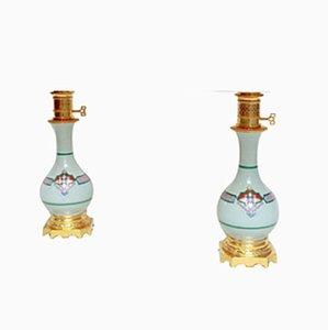 Antike Porzellanlampen mit Seladonglasur, 2er Set