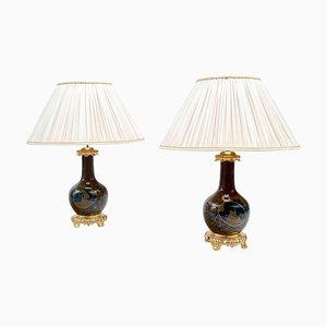 Lámparas estilo japonés antiguas de porcelana marrón y azul. Juego de 2