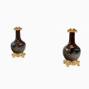 Lampade antiche in stile giapponese in porcellana blu e marrone, set di 2