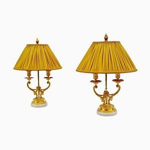 Antike Louis XVI Kerzenhalter-Tischlampen, 1880er, 2er Set
