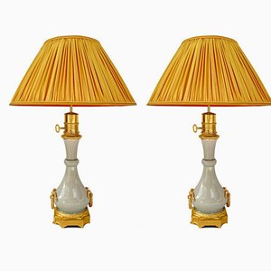 Porzellanlampen mit Seladonglasur von Maison Gagneau, 1880er, 2er Set