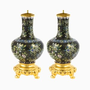 Antique Black Cloisonné Enamel & Gilt Bronze Lamps, 1880s, Set of 2