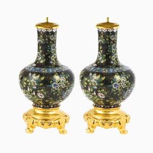 Lámparas antiguas doradas y esmaltadas en negro dorado, década de 1880. Juego de 2