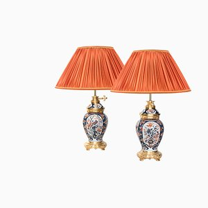 Antique Imari Porcelain & Gilt Bronze Lamps, 1880s, Set of 2
