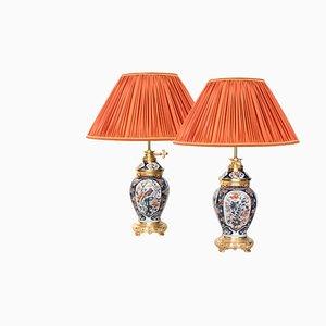 Lámparas antiguas de porcelana Imari y bronce dorado, década de 1880. Juego de 2