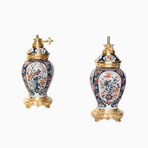Lampade antiche in porcellana Imari e bronzo dorato, fine XIX secolo, set di 2