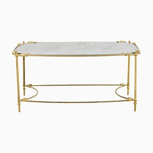 Mesa de centro de latón dorado y espejo oxidado, años 60