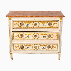 Antique Louis XVI Painted Wood & Gilt Bronze Commode