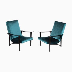 Scandinavian Modern Blue Velvet Armchairs, 1970s, Set of 2