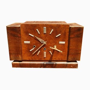 Italian Walnut Clock with Brass Mechanism & Aluminum Hands, 1930s
