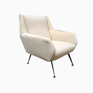 Italienischer Sessel aus weißem Samt, Messing & Metall von Minotti, 1950er