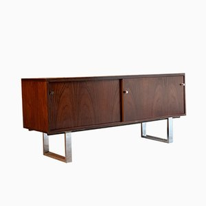 Rosewood Chrome Sled Legs Sideboard by Trevor Chinn for Gordon Russell, 1970s