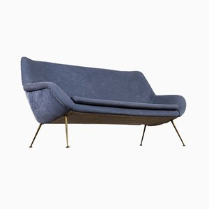 Blue Velvet Sofa by Fritz Neth, 1950s