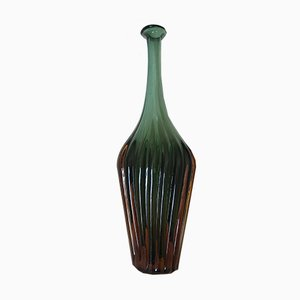 Submerged Ribbed Murano Glass Vase, 1970s