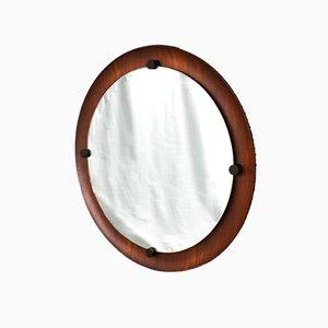 Runder italienischer Spiegel mit Rahmen aus Teak, 1960er