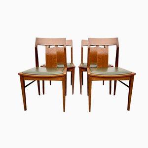 Chaises de Salle à Manger #D171 Vintage en Teck et Vinyle Vert, 1960s, Set de 4