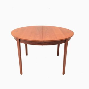 Vintage Danish Teak Circular Dining Table with Three Extension Leaves, 1960s