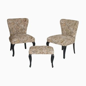 Art Nouveau Ebonized Walnut Armchairs and Ottoman Set