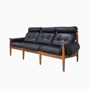 Large Mid-Century Black Leather and Wood Sofa by Eric Merthen, 1958