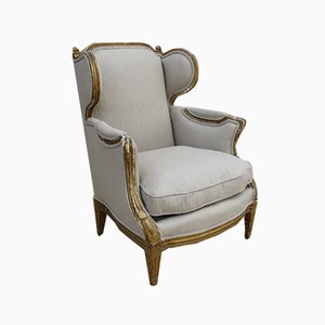 Antique French Gilt Wood & Linen Wing Back Chair