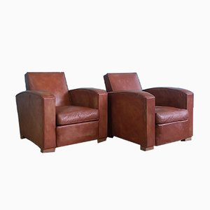 Art Deco Leather Club Chairs, 1930s, Set of 2