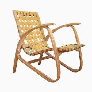 Czechoslovakian Bent Beech & Woven Cotton Strap Lounge Chair by Jan Vanek, 1930s