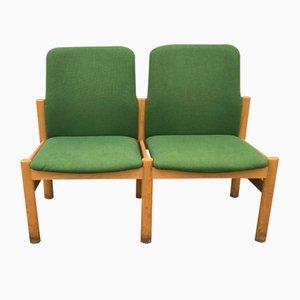 2-Sitzer Sofa aus solider Eiche & grüner Wolle, 1960er