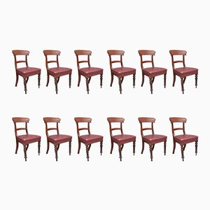 Antique Mahogany Dining Chairs, Set of 12