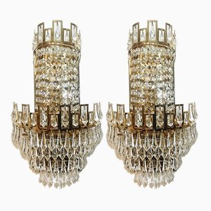 Vintage Cut Glass Wall Sconces, 1970s, Set of 2