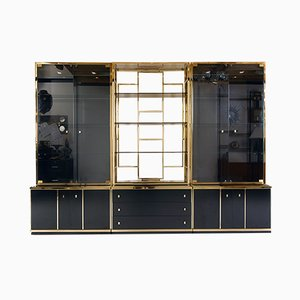 Italian Brass and Black Gloss Wall Shelving System by Renato Zevi for Zevi, 1970s