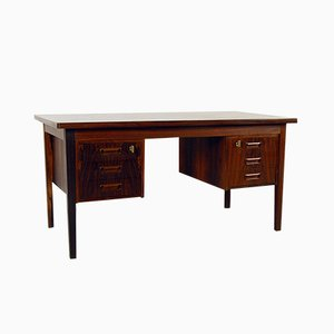 Danish Freestanding Rosewood Twin Pedestal Office Desk, 1960s