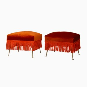 Velvet & Brass Ottomans, 1950s, Set of 2