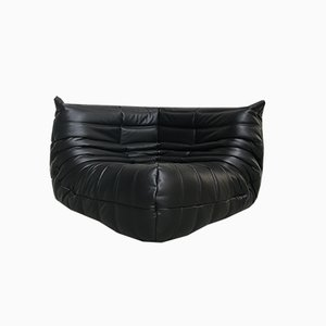 Black Leather Togo Corner Seat by Michel Ducaroy for Ligne Roset, 1970s