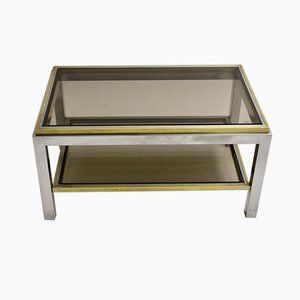 Table Basse Mid-Century en Laiton et Chrome par Willy Rizzo, 1970s