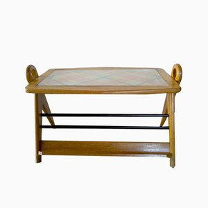 Mid-Century Wooden Coffee Table with Magazine Rack, 1950s