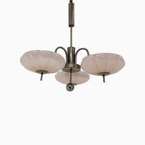Lámpara de araña Art Déco de vidrio rosa, años 30