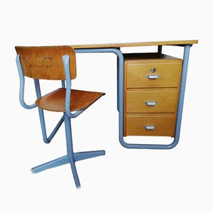 Bauhaus Style Industrial German Grey Iron & Varnished Wood Desk & Chair Set, 1940s