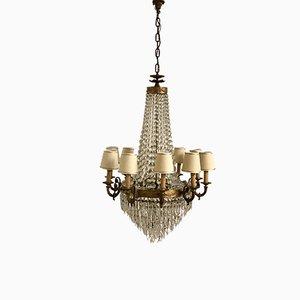 Lámpara de araña Art Déco grande de cristal, años 30