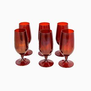 Copas de vino checas de Crystalex Novy Bor, años 80. Juego de 6